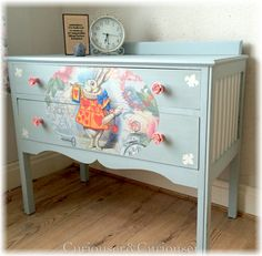 Alice in Woderland inspired furniture makeover Come with me down the rabbit hole. Alice in Woderla Decoupage Furniture, Hand Painted Furniture, Repurposed Furniture, Kids Bedroom Furniture, Furniture Decor, Diy Furniture Restoration, Restoration Hardware, Alice In Wonderland Room, Baby Room Diy