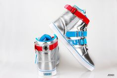 radii shoes   Home :: Radii Shoes :: Radii Straight Jacket Silver Blue Red Shoes