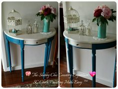 Demi Lune painted in Yale Blue and Chalk Dust chalk paint