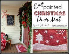 Easy painted Christmas door mat