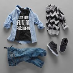 """I am your future president"" Toddler boys' fashion Kids' clothes Graphic tee Woven top Sweater Denim jogger pants Sneakers The Children's Place Toddler Boy Fashion, Little Boy Fashion, Toddler Boy Outfits, Fashion Children, Toddler Pants, Toddler Boys, Kids Boys, Teen Boys, Step Children"
