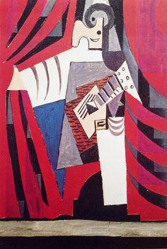 Pablo Picasso. Pulcinella with a guitar in front of the curtain. (Myasin taking a bow). Пульчинелла с гитарой перед занавесом. (Мясин раскланивается)