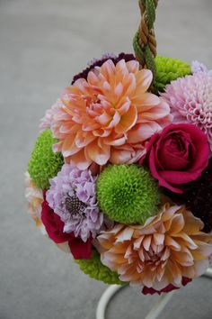 ball bouquet : dahlia,chrysanthemum,rose,scabiosa