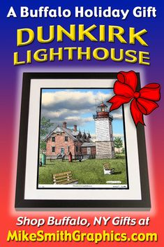 Highly detailed drawing featuring the Dunkirk Lighthouse South of Buffalo, NY by Western NY artist Michael Smith. Shop for unique artwork in a variety of subjects at MikeSmithGraphics.com. Limited Edition Prints, Lighthouse, Holiday Gifts, Wall Art Prints, Buffalo, Ink, Drawings, Unique, Artist