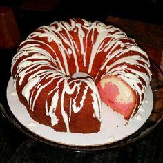 My cheese cake filled strawberry pound cake. Yum! :)