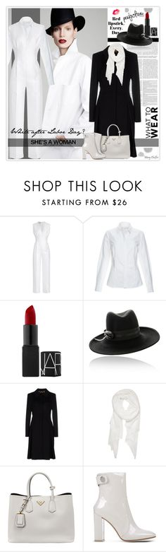 """It's Perfectly Fine To Wear White After Labor Day!"" by mcheffer ❤ liked on Polyvore featuring Komar, Emilia Wickstead, NARS Cosmetics, ESCADA, Calvin Klein, Prada, Gianvito Rossi, blackandwhite, booties and Fedora"