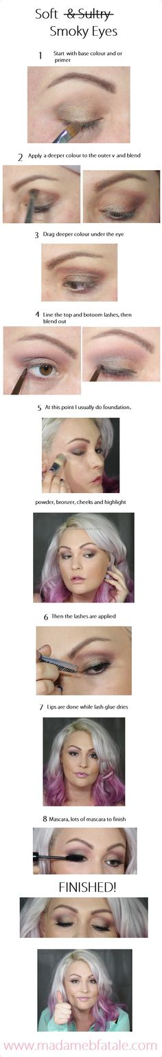 Soft Smoky eye tutorial / pictorial click through to www.madamebfatale.com for products used #smokey #smokey
