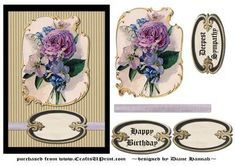 Victorian Roses Flowers on Craftsuprint designed by Diane Hannah - Victorian Roses are the focal point of this lovely card. A solid black and corrugated looking textured background compliment the elements to their fullest. Using a lilac ribbon gives a bit of color beneath the tag. A few decoupage elements will give added dimension, you will be proud to present this card. - Now available for download!