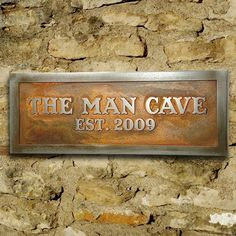 Does he have to have a man cave first?  : )Man Room Sign, Man Cave Plaque for Him Custom 12x4 inches. $82.00, via Etsy.