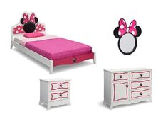 Kids love themed bedroom sets - and this Disney Minnie Mouse Twin Bedroom Collection is about as magical as they get! With plenty of pink accents, an abundance of bows, and just the right amount of polka dots, the Minnie Mouse Twin Bedroom Collection from Delta Children captures the cheerful, girly spirit of Minnie Mouse. The centerpiece of the collection is the twin bed with an upholstered headboard. Your girl's love for her favorite Disney mouse doesn't stop at the bed, it's expressed in…