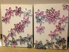 Canvas de flores: Con rollitos de cartón de papel de baño pintados.