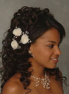 Long curls black wedding hairstyle side view