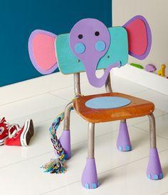 Cadeira com elefante feito em EVA | Pra Gente Miúda