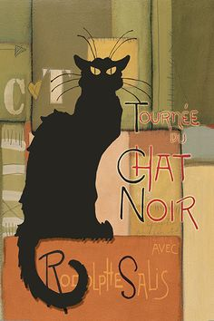 Abstract Chat Noir Black Cat GICLEE Edition 24 X 36 Art Print Poster Vintage