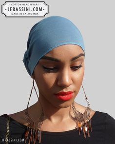 $12.97 Buy fashionable Blue Jean Blue Bandanas. Perfect for long or short hair, no hair, dreadlocks, African wraps, hair coverings, motorcycle helmets, and chemo/cancer treatment. (818) 749-5066 For sale at http://jfrassini.com/blue-jean-blue-head-wrap/