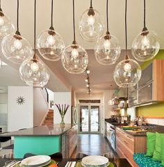 Colorful stairwell, dining and living area - contemporary - dining room - san diego - by Kropat Interior Design Kitchen Pendant Lighting, Kitchen Pendants, Dining Room Lighting, Home Lighting, Dining Room Table, Pendant Lights, Lighting Ideas, Nook Table, Gallery Lighting