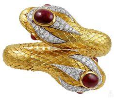 David Webb  Cabochon Ruby Diamond Gold Snake Bangle | 1stdibs.com