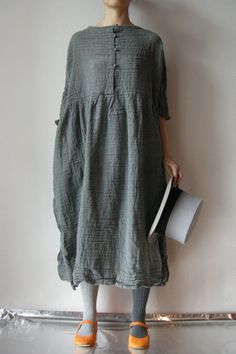 Daniela Gregis, Washed Long November Dress with Sleeves