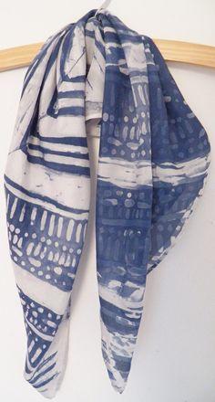 Batik silk habotai square scarf or head scarf by HollyEdenTextiles