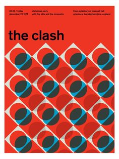 """This poster is interesting because to me the design isn't really """"clashing"""" in my opinion. If I were to be representing the clash through design, I would have done something slightly more chaotic. However, I still appreciate the design here. Poster Design, Graphic Design Posters, Graphic Design Typography, Graphic Design Illustration, Graphic Design Inspiration, Layout Design, Design Art, Print Design, The Clash"""