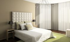 Beyond Boring: Bright, bold colors aren't the only way to add dimension to your bedroom. A fabric headboard with a textured pattern helps spice up a limited color palette. Master Bedroom Closet, Beige Walls, Of Wallpaper, Stripe Wallpaper, White Bedding, Bedroom Styles, Beautiful Bedrooms, Modern Interior, Decorating Your Home