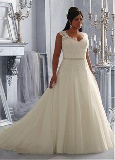 Encantador vestido de novia de organza y tul con escote en V con detalles de encaje en apliques
