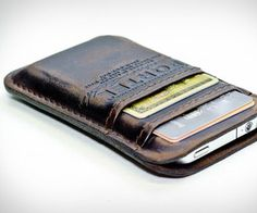 Aged leather pocket for iPhone.