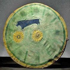 Shield   Cheyenne Antelope Hide Painted Buffalo Decoration 18 inch