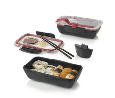 I bought Alisha this bento box from Black and Blum. It's ingenious. There is a sauce reservoir, the fork doubles as a knife, and the lid doubles as a plate with dipping spot. I couldn't be more excited about something that's for the kitchen.