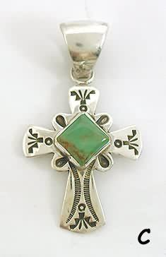 Native American Sterling Silver Turquoise Cross pendant #NativeAmericanJewelry