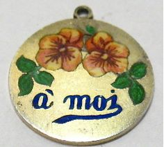 Antique French Silver and Enamel Pansy Charm