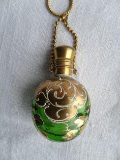 ANTIQUE ENAMEL & GILT GREEN GLASS CHATELAINE PERFUME SCENT BOTTLE C1880