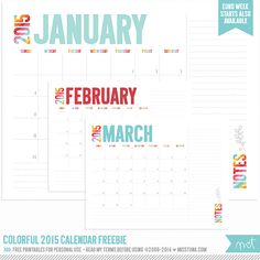 Colorful 2015 Calendar FREE Printables!