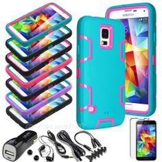 Rugged Hybrid Impact Hard Cover Case For Samsung Galaxy S5 i9600 + Car Charger
