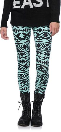 Empyre Girls Tribal Print Mint & Black Leggings at Zumiez : PDP