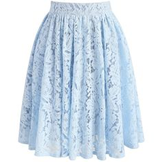 Chicwish Daydreamer Whole Lace Skirt in Blue ($53) ❤ liked on Polyvore featuring skirts, blue, lace skirt, flower print skirt, lacy skirt, chicwish skirt and knee length lace skirt
