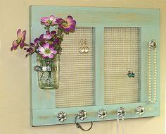 Jewelry Organizer Holder Cottage Shabby Pale Jade Mason Jar Crystal Knobs Framed Holder Earrings Necklaces Bracelets Organizer Peg Rack