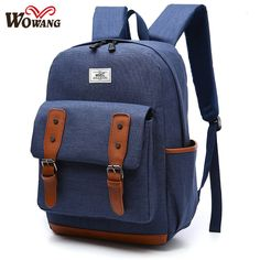 7c38fa8486c8 WOWANG canvas Backpack women and men Fashion travel school bag The large  capacity backpack pure color contracted mochilas-in Backpacks from Luggage    Bags ...