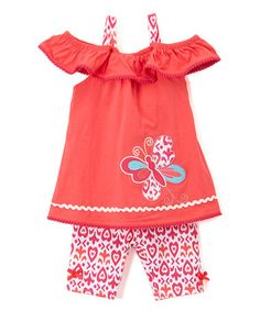Look at this #zulilyfind! Coral Butterfly Knit Tunic & Heart Shorts - Infant, Toddler & Girls #zulilyfinds