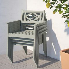 BONDHOLMEN grey stained, Chair with armrests, outdoor - IKEA Outdoor Dining, Outdoor Chairs, Patio Dining, Dining Chairs, Outdoor Decor, Seaside Cafe, Table Furniture, Outdoor Furniture, Grey Stain
