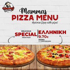 Επωφελήσου από την προσφορά μας! 🔥 1+1 οικογενειακή pizza της επιλογής σου μόνο με 9,70€!!!! 📲www.mammaspizza.gr ☎️23210 50888 #serres #pizza #mammaspizza #serresdelivery #onlinedelivery #food Pizza, Menu, Fresh, Menu Board Design
