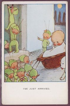 Mabel Lucie Attwell card How babies get here