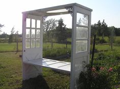 Bench arbor made from four doors