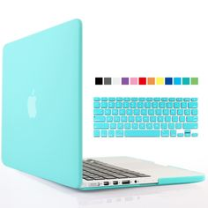 iBenzer® - 2 in 1 Multi colors Soft-Touch Plastic Hard Case Cover & Keyboard Cover for Macbook Pro 15'' with retina display, Turquoise MMP15R-TBL+1