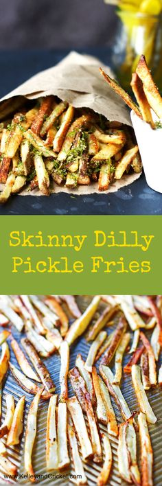 Crispy dilly french fries with pickle inspired seasoning! Baked, not fried, but you'll never know it ;)
