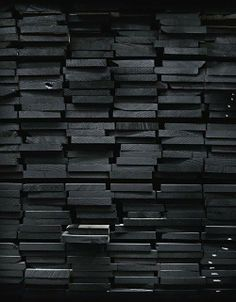 black painted wood / color inspiration / black and white / monochromatic / texture / pattern / nature / art / All Black Everything, Grafik Design, Black Wood, Black Brick, Grey Wood, Gray, Shades Of Black, Color Negra, Black Is Beautiful