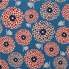 blue flower blossom pattern Canvas fabric from Japan 2