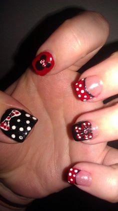 Mini mouse/ Disney nails on full set of acrylic