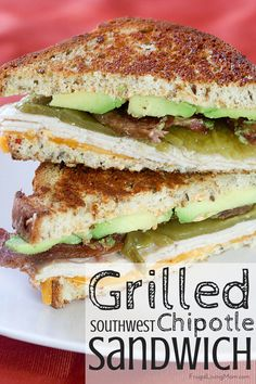 Grilled Southwest Chipotle Turkey Sandwich: Turkey layered with melty cheese, avocado, bacon, chilies and spicy Chipotle sauce!! What could be better?  @FosterFarms   DontCallMeBasic  AD