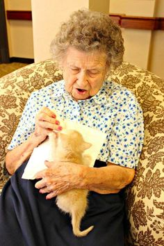 7 Adorable Photos of Elderly Patients Taking Care of Kittens to Make Your Day Brighter